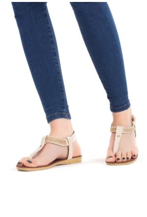 Erbilden İfs Krem Rugan Taşlı Bayan Sandalet Ayakkabı