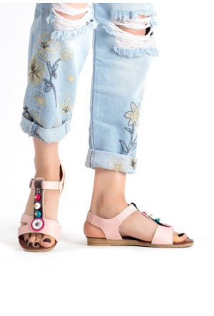 Erbilden İfs Pudra Cilt Boncuklu Bayan Sandalet Ayakkabı