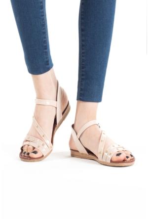 Erbilden İfs Krem Rugan Boncuklu Bayan Sandalet Ayakkabı