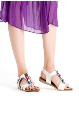 Erbilden İfs Beyaz Cilt Boncuklu Bayan Sandalet Ayakkabı