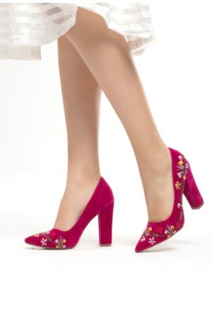 Erbilden Mar Fuşya Süet İşlemeli Bayan Kalın Topuklu Ayakkabı