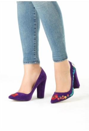 Erbilden Nıc Mor Çiçek İşlemeli Desenli Bayan Topuklu Ayakkabı
