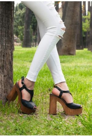 Erbilden Tan Siyah Bilekten Kemerli Bayan Platform Topuk Ayakkabı