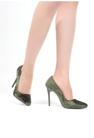 Erbilden Tek Yeşil Kadife Süet Bayan Stiletto Ayakkabı