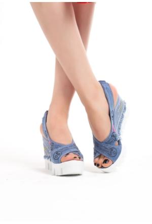Erbilden Vel Mavi Kot Bilekten Lastikli Bayan Dolgu Sandalet Ayakkabı