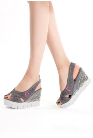 Erbilden Vel Gri Kot Bilekten Lastikli Bayan Dolgu Sandalet Ayakkabı