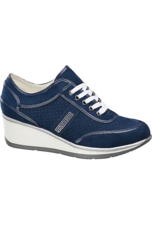 Deichmann Easy Street Kadın Mavi Dolgu Topuk Sneaker Ayakkabı