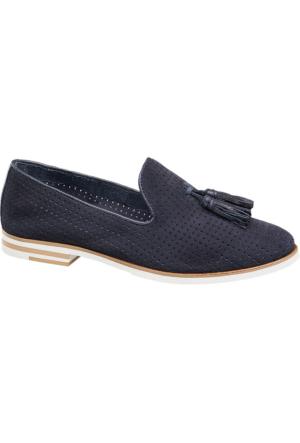 Deichmann 5Th Avenue Kadın Lacivert Deri Loafer Ayakkabı