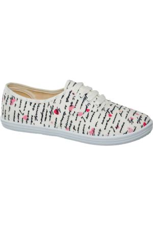 Deichmann Blue Fin Kadın Keten Sneaker Ayakkabı Beyaz