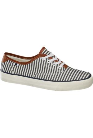 Graceland Kadın Mavi Beyaz Keten Sneaker Ayakkabı