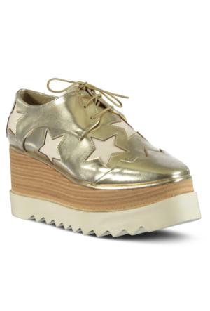 Marjin Lesta Dolgu Topuk Ayakkabı Altın
