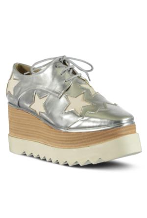 Marjin Lesta Dolgu Topuk Ayakkabı Gümüş