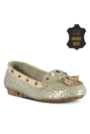 Marjin Venas Düz Loafer Ayakkabı Altın
