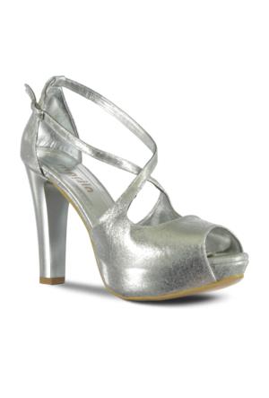 Marjin İlke Topuklu Abiye Ayakkabı Gümüş
