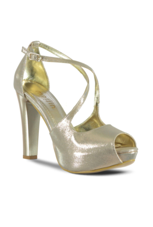 Marjin İlke Topuklu Abiye Ayakkabı Pudra Altın