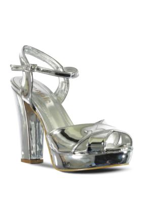Marjin Sanko Topuklu Abiye Ayakkabı Gümüş