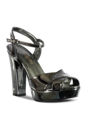 Marjin Sanko Topuklu Abiye Ayakkabı Platin