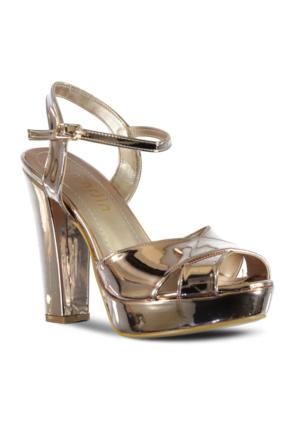 Marjin Sanko Topuklu Abiye Ayakkabı Pudra Altın