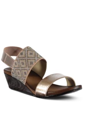 Marjin Kolar Dolgu Topuk Sandalet Pudra Altın