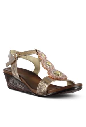 Marjin Nes Dolgu Topuk Sandalet Pudra Altın