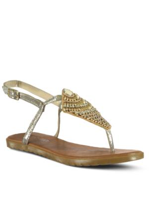 Marjin Fayer Düz Sandalet Altın