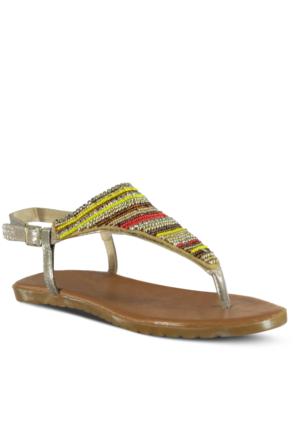 Marjin Fayet Düz Sandalet Altın