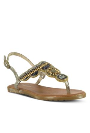 Marjin Maya Düz Sandalet Altın