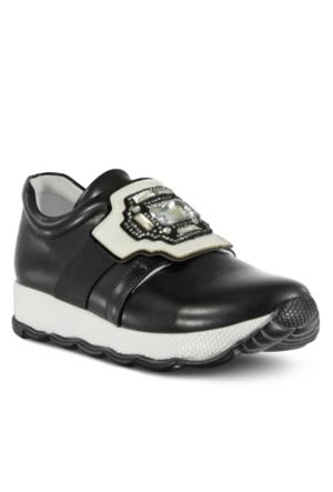 Marjin Ponri Dolgu Topuk Spor Ayakkabı Siyah