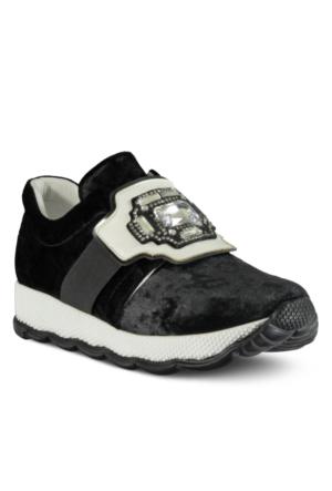 Marjin Ponri Dolgu Topuk Spor Ayakkabı Siyah Süet