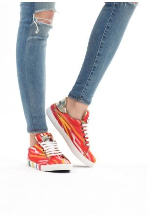 Erbilden Kırmızı Kadın Bez Spor Ayakkabı
