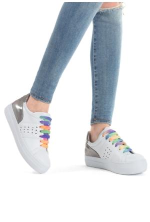 Erbilden Sdt Beyaz Cilt Gümüş Rugan Kadın Spor Ayakkabı