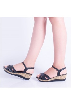 Kayra Siyah Dolgu Topuk Kadın Sandalet 02