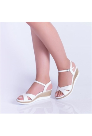 Kayrabeyaz Dolgu Topuk Kadın Sandalet 03
