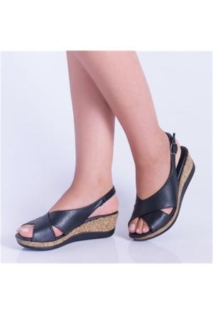 Kayra Violet Siyah Çapraz Kalın Taban Kadın Sandalet 04