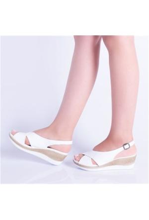 Kayra Beyaz Dolgu Topuk Kadın Sandalet 04