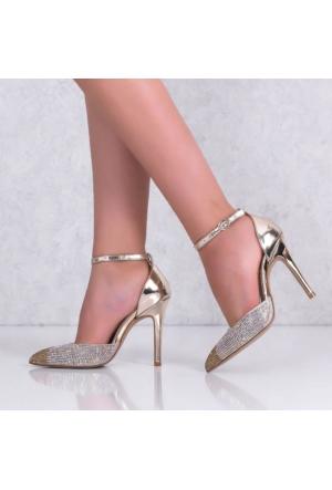 Lonar Altın Sivri Burun Topuklu Kadın Ayakkabı 78