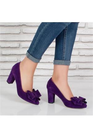 Oc Mor Süet Fiyonklu Alçak Topuk Kadın Ayakkabı 081