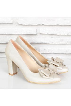 Oc Altın Prada Fiyonklualçak Topuk Kadın Ayakkabı 081