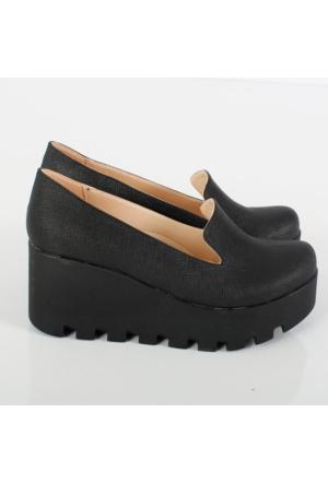 Oc Siyah Prada Kalın Dolgu Topuklu Kadın Ayakkabı 128