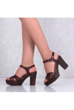 Bellahakiki Deri Kahverengiplarform Topuklu Kadın Sandalet 301