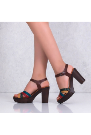 Bellahakiki Deri Multiplarform Topuklu Kadın Sandalet 301