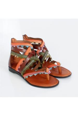 Bellahakik Deri Kahverengi Düz Taban Kadın Sandalet 451