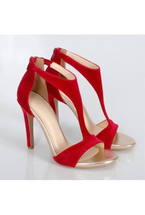 Lonar Kırmızı Kadife İnce Topuklu Kadın Ayakkabı 496