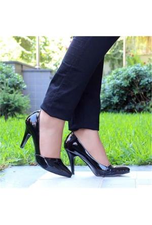 Angelsiyah Rugan Kısa Topuklu Kadın Stiletto 901