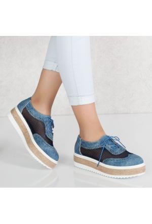 Lonar Mavi Kot Filelikalın Taban Kadın Spor Ayakkabı 1000