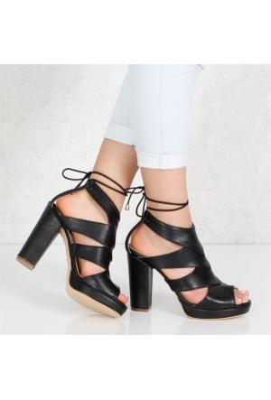 Sar Siyah Kalıntopuklu Kadın Sandalet Ayakkabı 1008