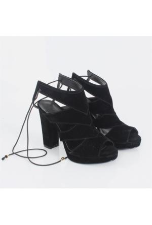 Sar Siyah Süet Kalıntopuklu Kadın Sandalet Ayakkabı 1008