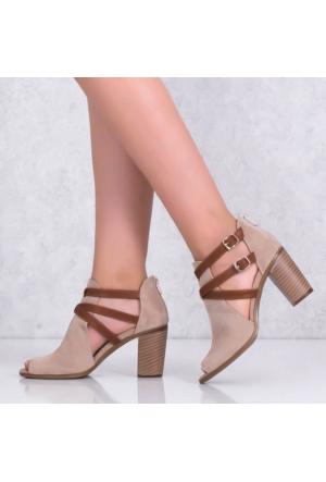 Smsbej Nubuk Kalın Topuklu Kadın Sandalet 3421