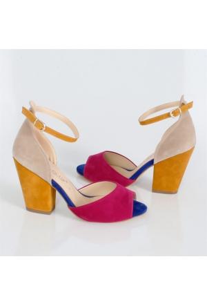 Sms Fuşya-Hardal Alçak Topuk Kadın Sandalet 42112