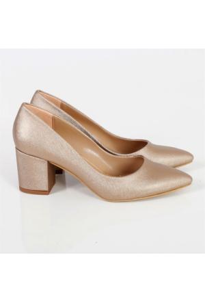 Oc Altın Prada Kalın Topuk Kadın Ayakkabı Cv100